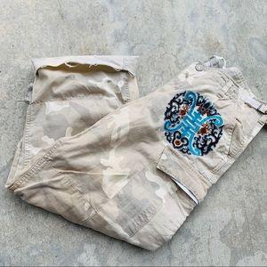 DA-NANG cropped cargo beige pants patch detail L